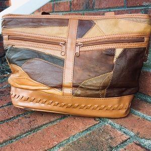 FAUX LEATHER PATCHWORK SHOULDER BAG-Browns & Tans